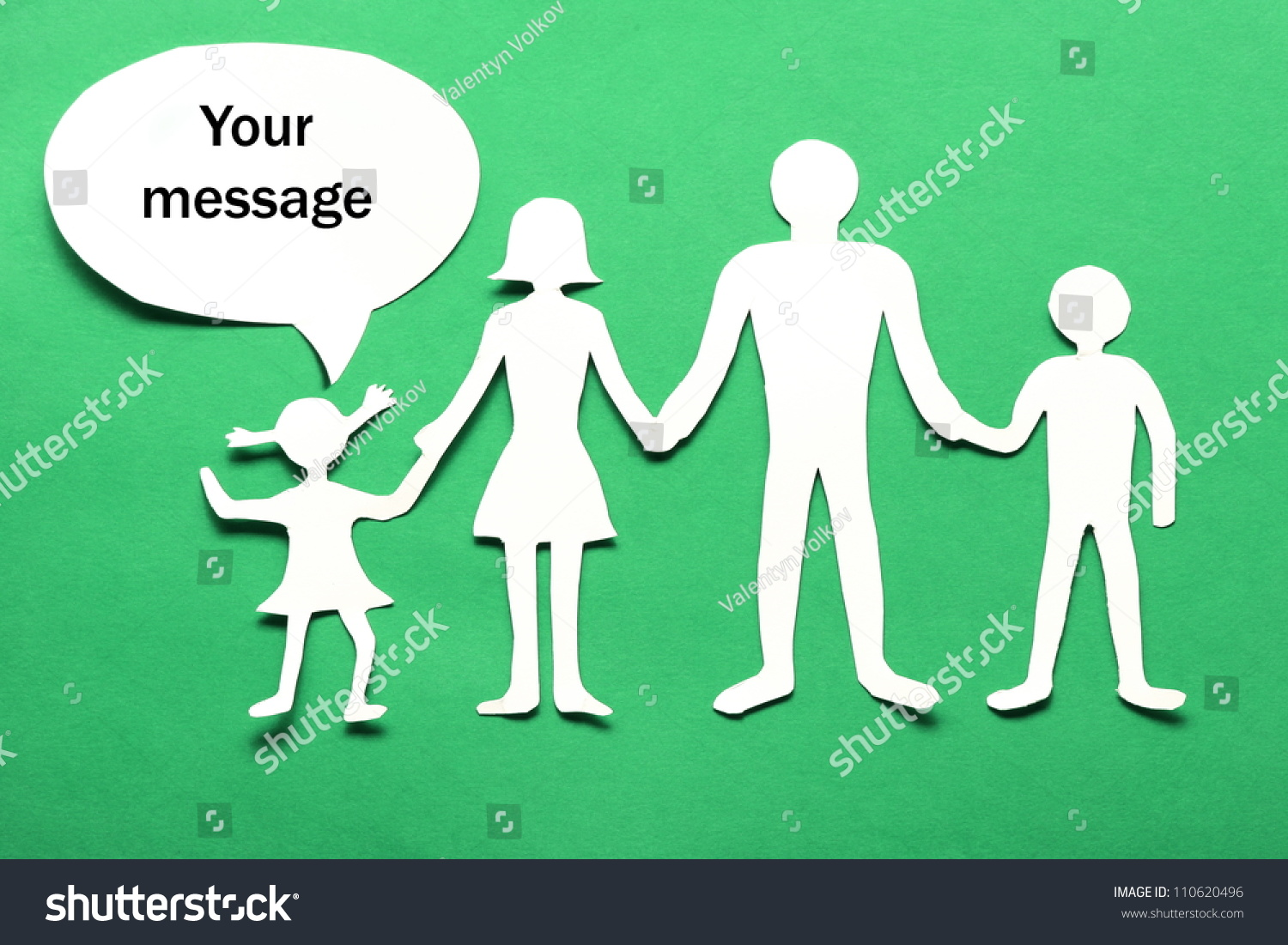 Cardboard Figures Family On Green Background Stock Photo Edit Now