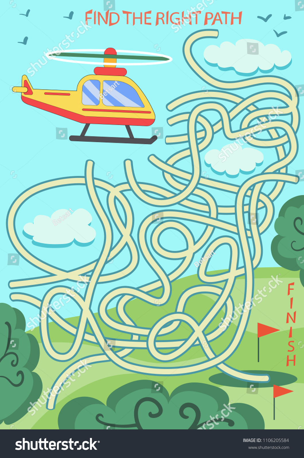 Children Maze Find Right Path Helicopter Stock Vector (Royalty Free ...