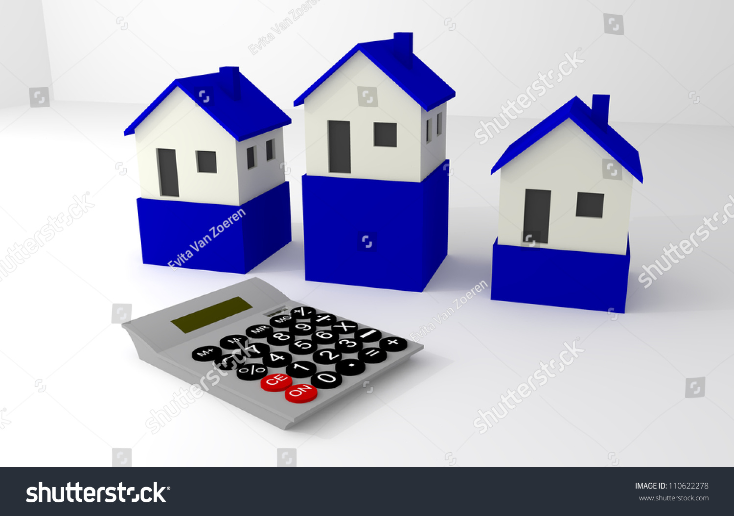 Blue and white house with calculator stock photo 110622278 for Blue and white house