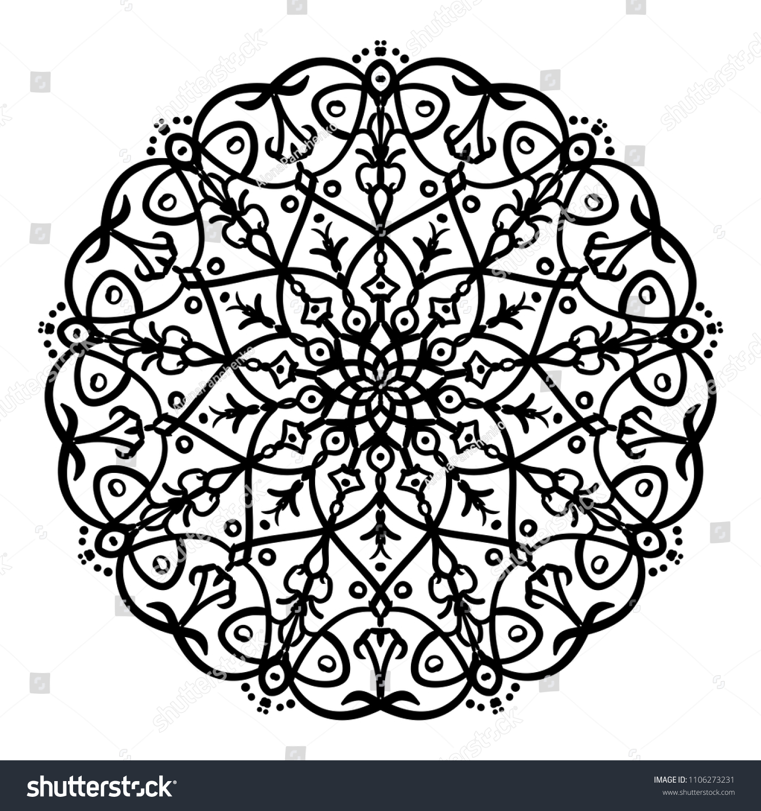 Mandala Design Vintage Decorative Design Elements Round Ornaments Oriental Pattern,