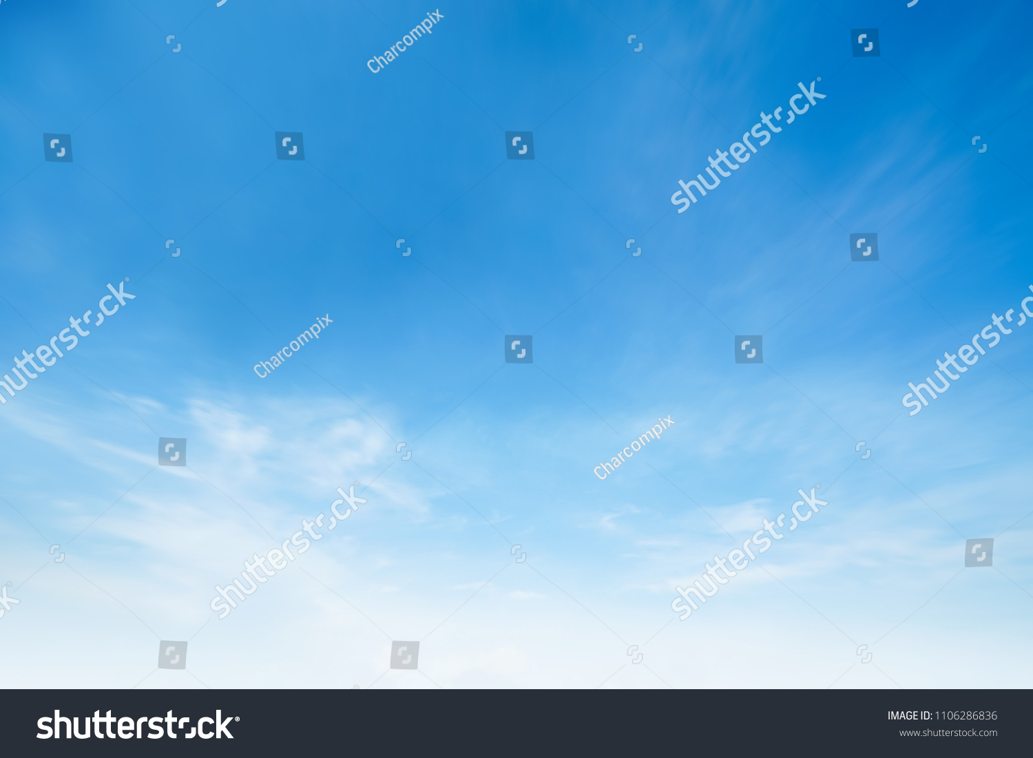 Cloud sky sunrise during morning background. Blue pastel heaven,soft focus lens flare sunlight. Abstract blurred white cyan gradient of peaceful nature. Open view windows beautiful summer spring #1106286836