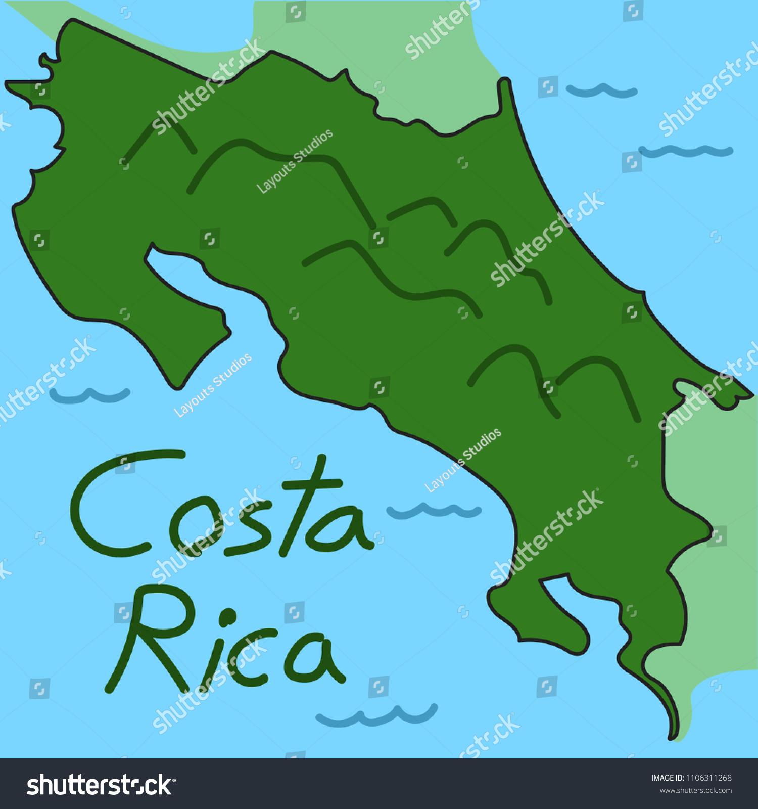 Vector De Stock Libre De Regalias Sobre Geographic Map Costa Rica1106311268