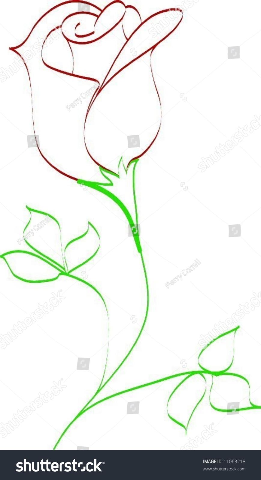 Simple Vector Line Art : Simple line drawing rose bud stock vector