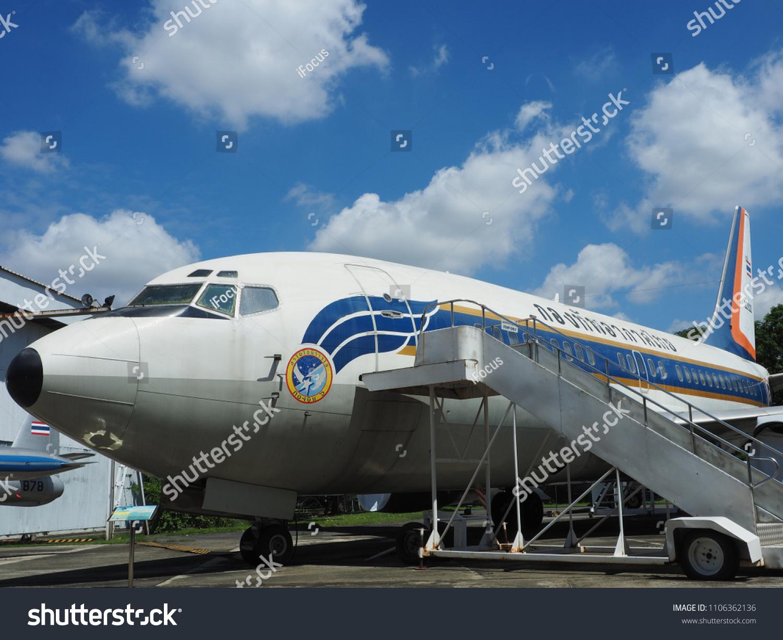BANGKOK, THAILAND - JUNE 5, 2018: Royal Thai Air Force museum displays a Boeing 737-200 on June 5, 2018 in Bangkok, Thailand.