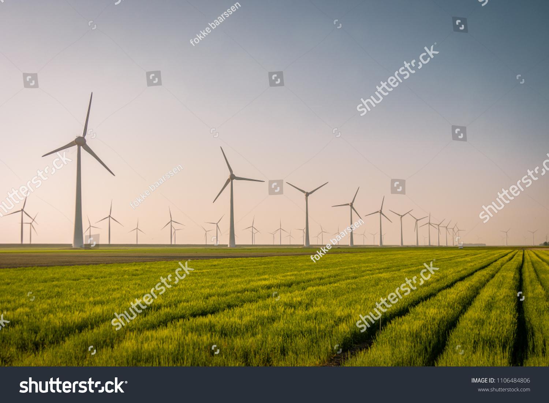 Windmill Park Huge Windmill Generator Turbines Stock Photo (Edit Now