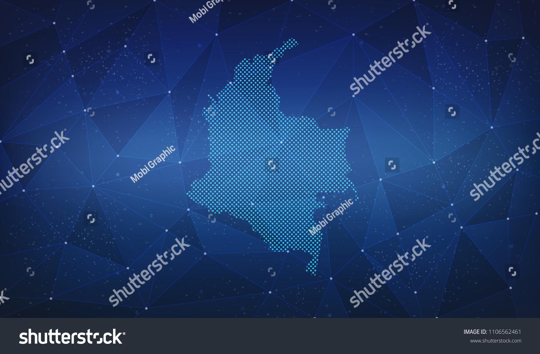 Colombia Digital Map Stockillustration 1106562461 – Shutterstock on