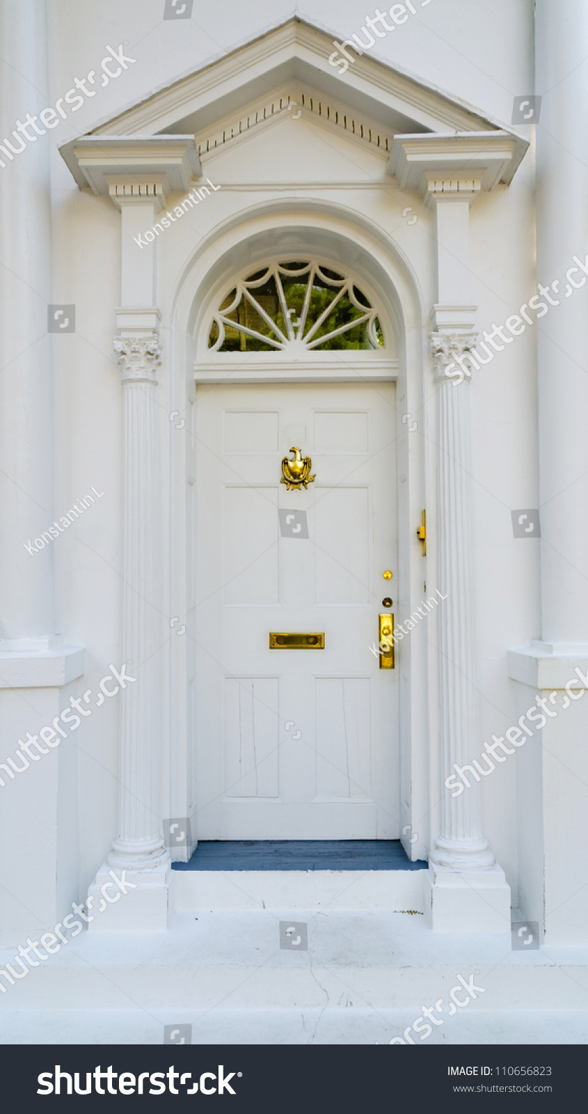 Elegant entrance colonial house stock photo 110656823 shutterstock - Elegant colonial architectural designs ...