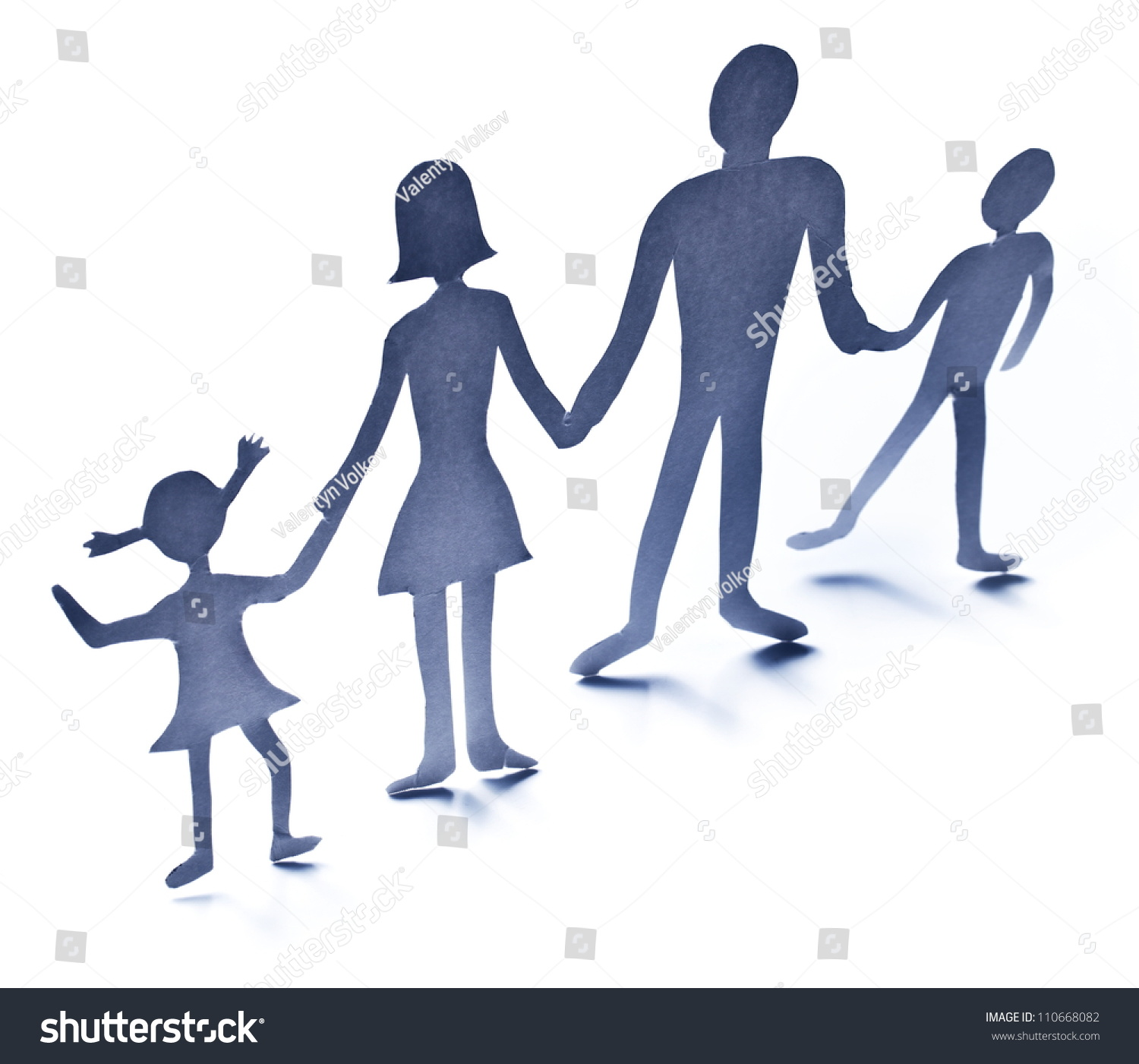 Cardboard Figures Family On White Background Stock Photo Edit Now