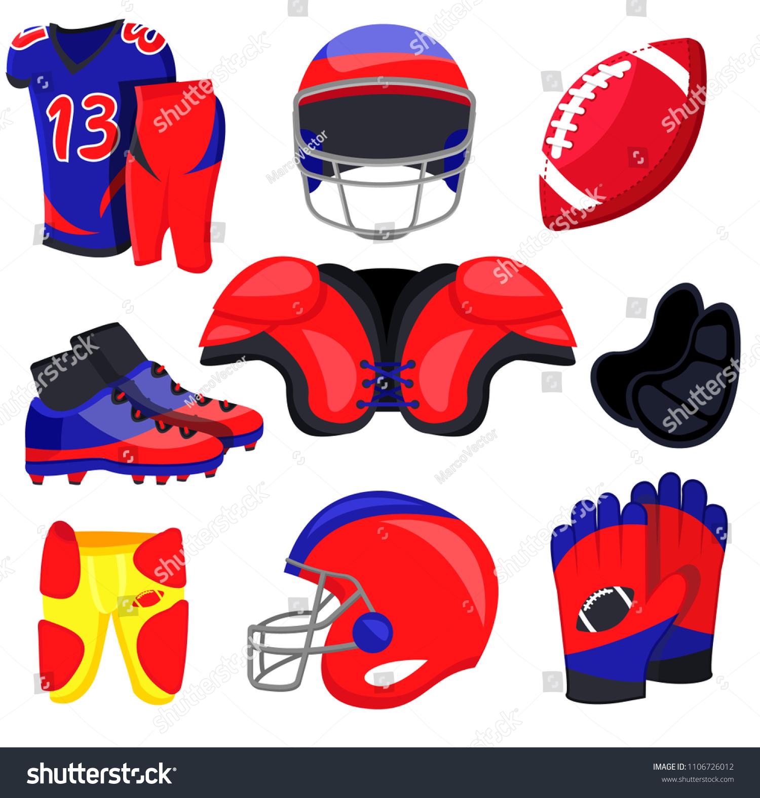 American Football Player Equipment Flat Cartoons Stock Vector