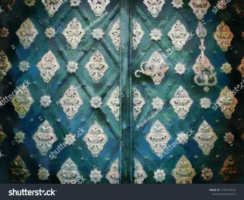 Ancient Decorated Door Big Size Art Stock Illustration 1106747534