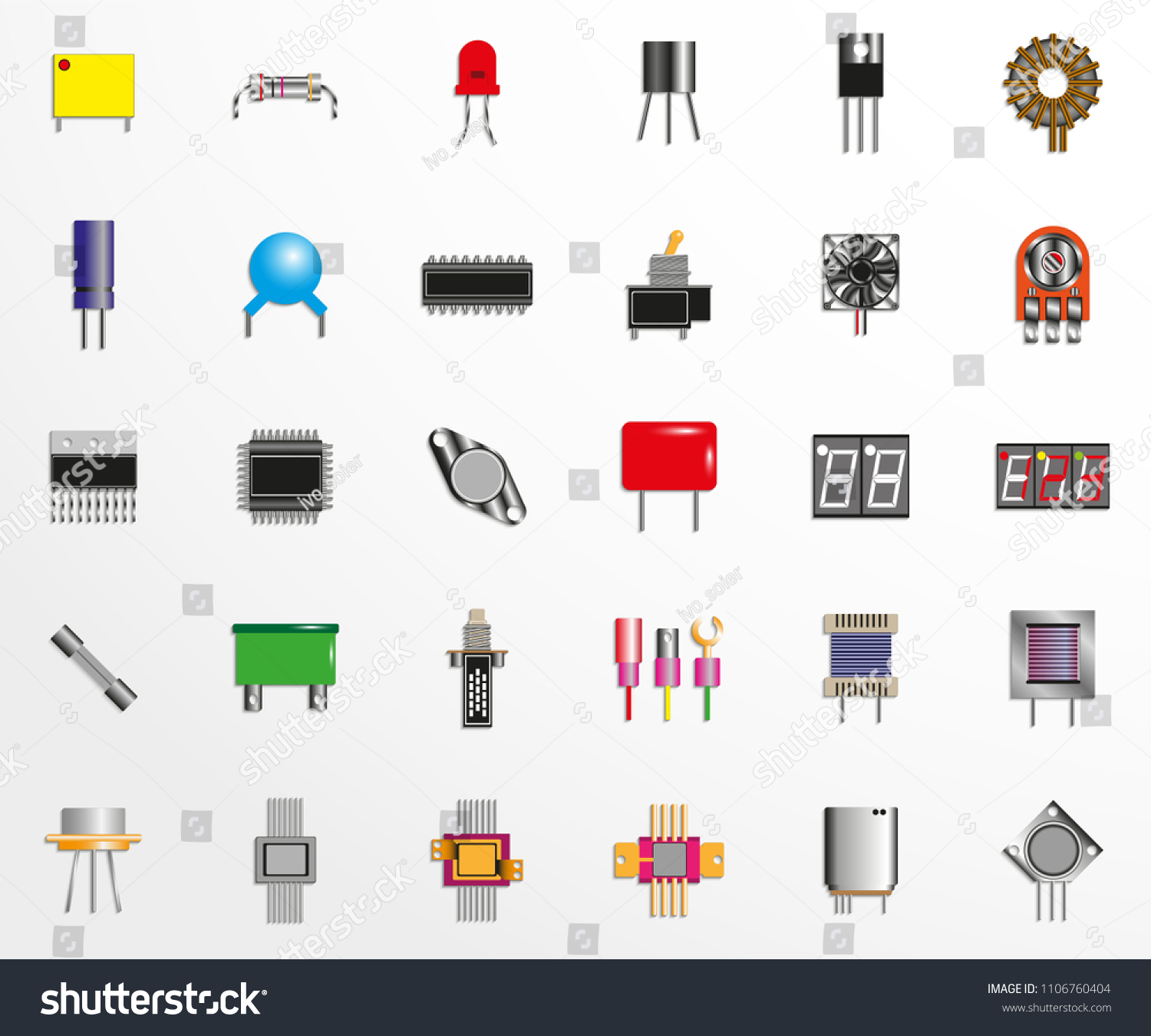 Electronic Components Spare Parts Circuits Stock Vector Circuitry Of An Calculator Royalty Free Photography And For Set Icons