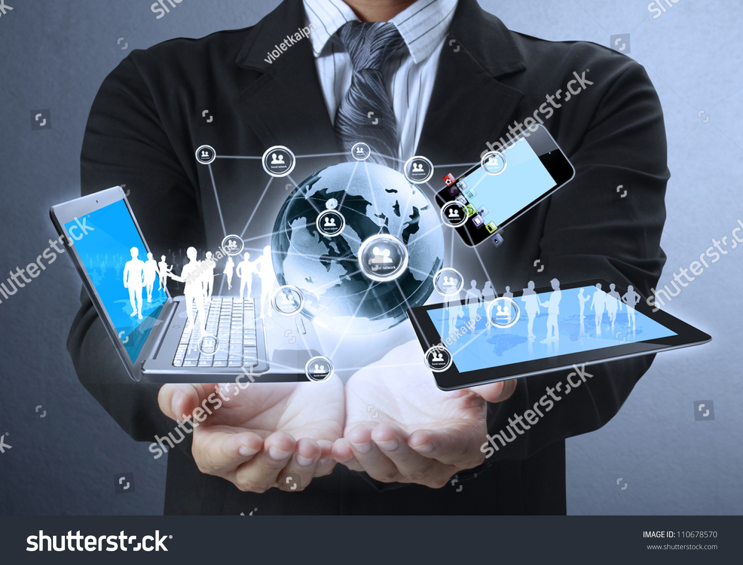 Technology Management Image: Technology Hands Businessmen Stock Photo 110678570