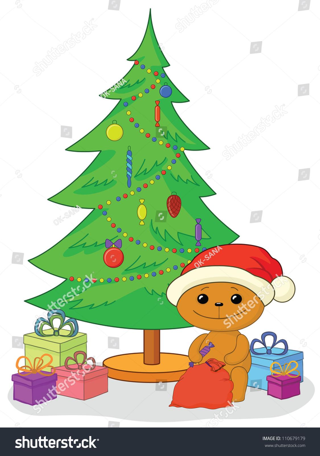 Holiday Cartoon, Teddy Bear Santa Claus With Gifts Under ...