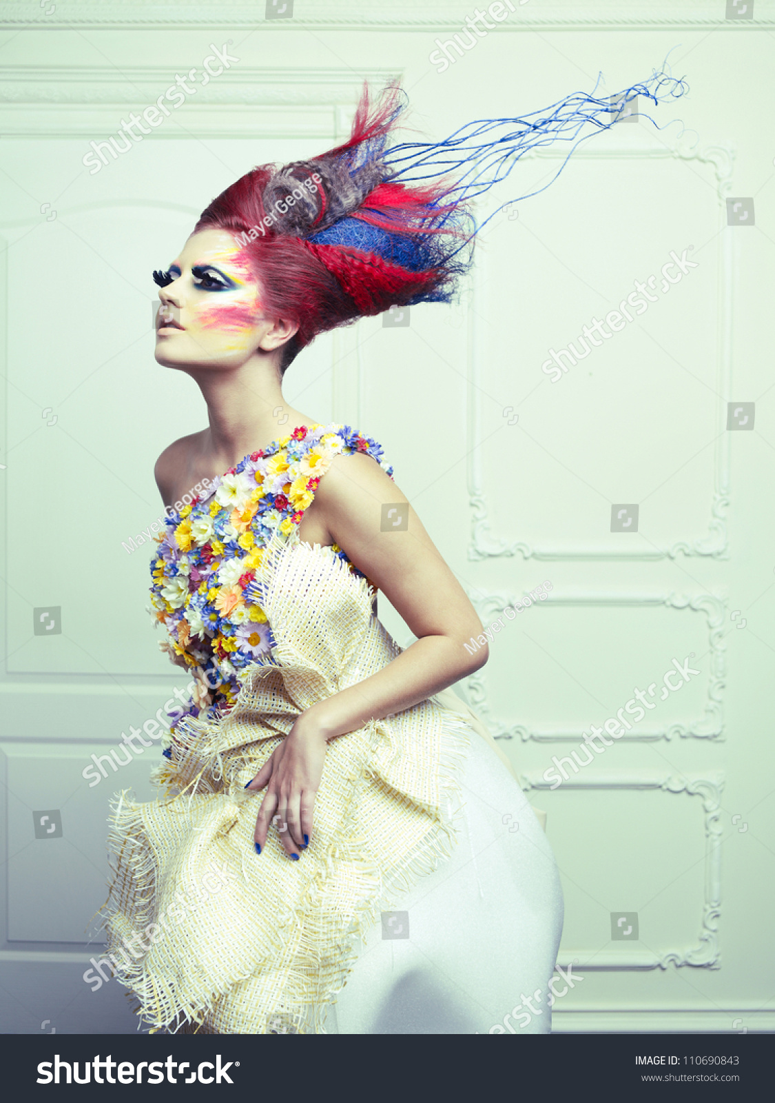 Lady With AvantGarde Hair And Bright MakeUp Stock Photo