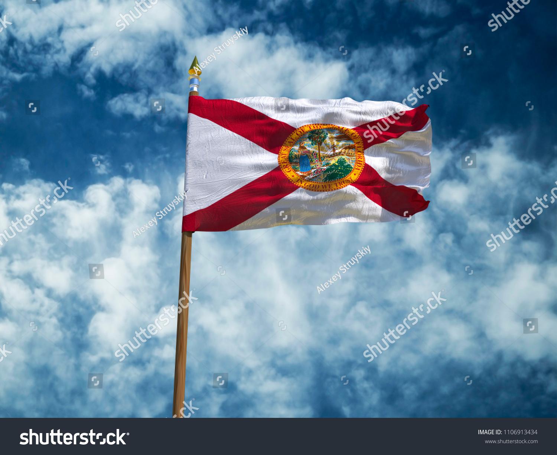 49ab2260224 Florida flag USA flag Silk waving flag made transparent fabric of Florida US  state with wooden