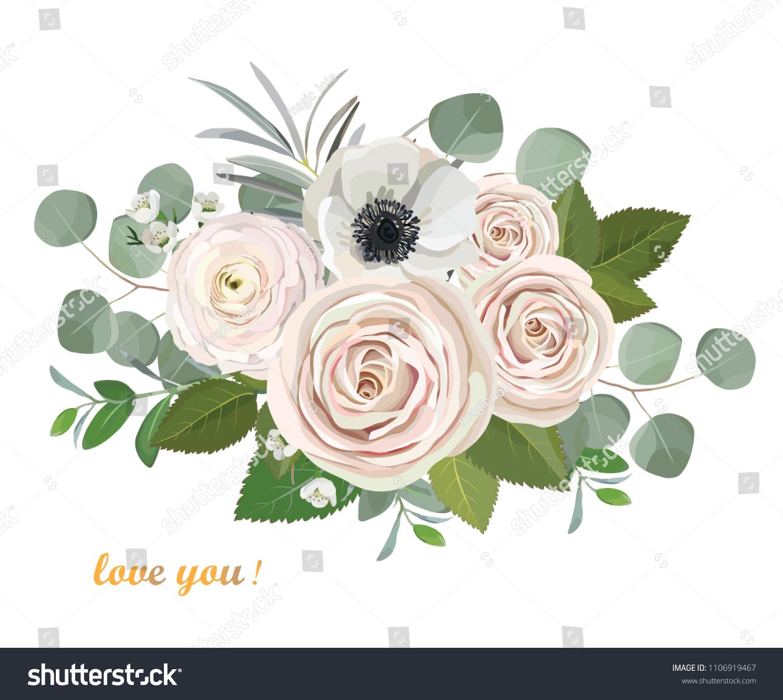 Ranunculus Anemone Eucalyptus Peach Rose Flowers Stock Vector Royalty Free 1106919467