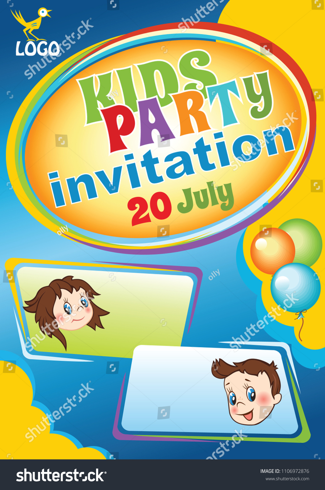 Kids Party Invitation Template Baby Birthday Stock Vector HD ...