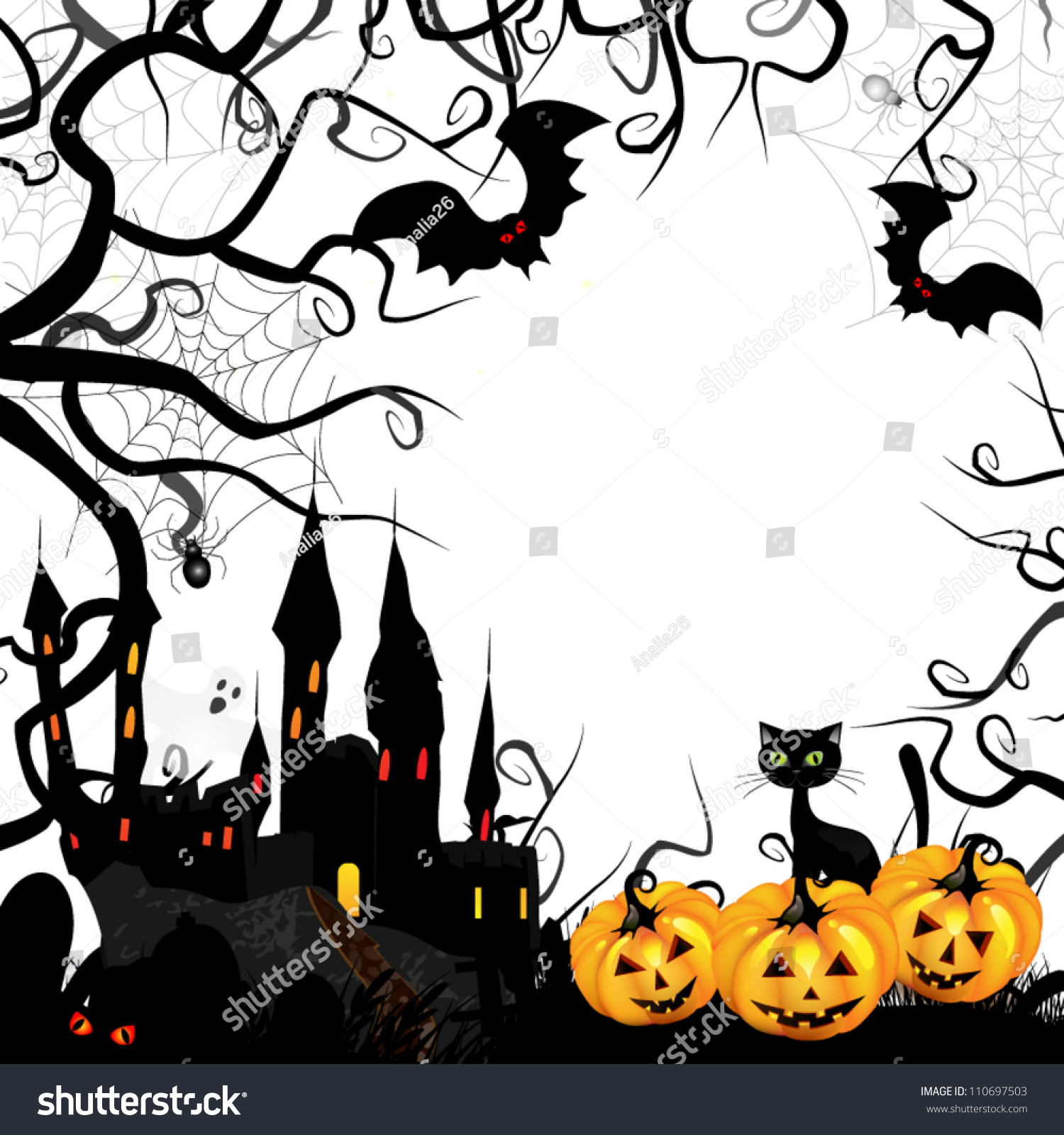 Halloween Card With Pumpkin And Ghost Castle Stock Vector