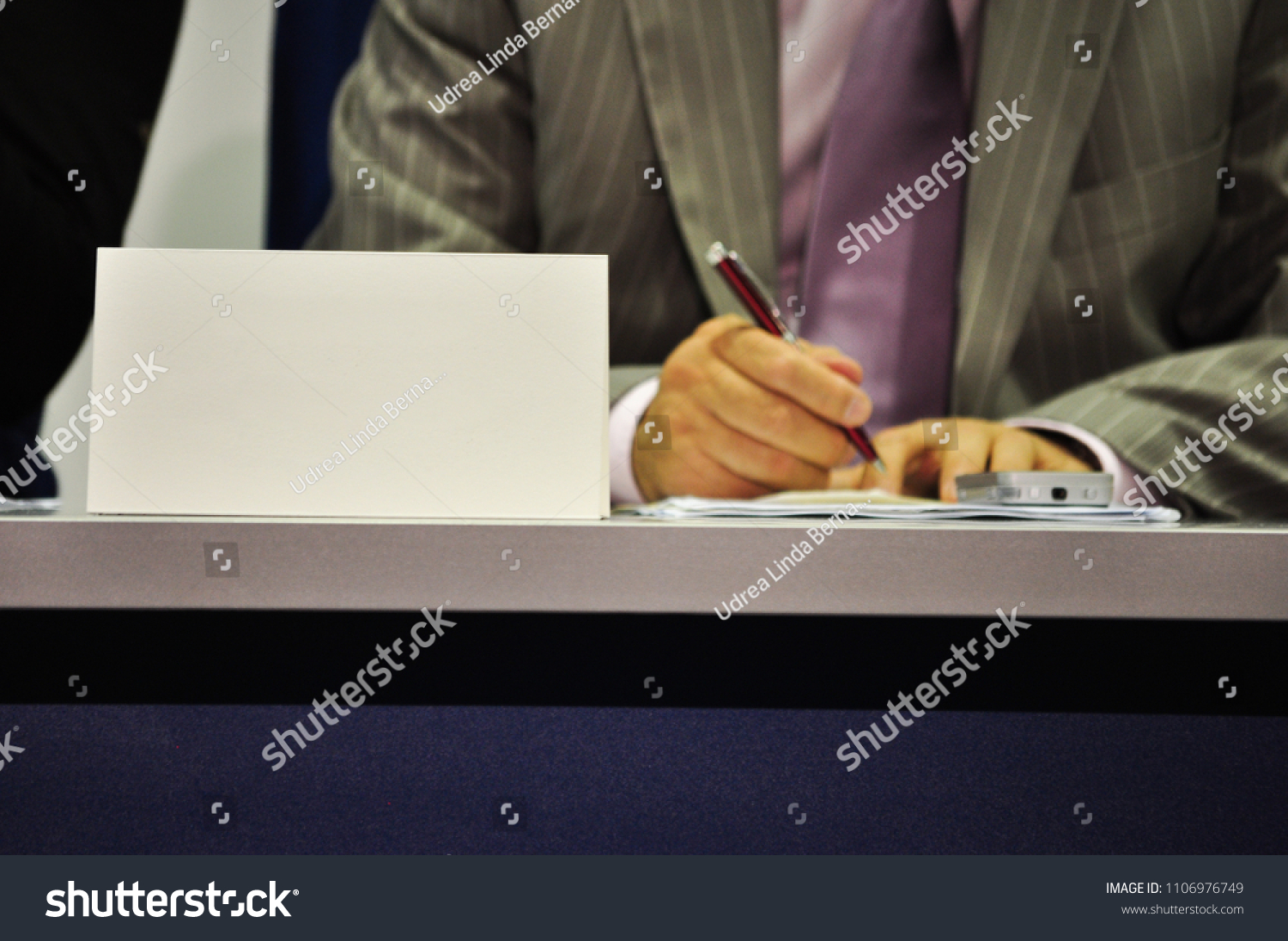 paper name platename badge on desk stock photo edit now 1106976749