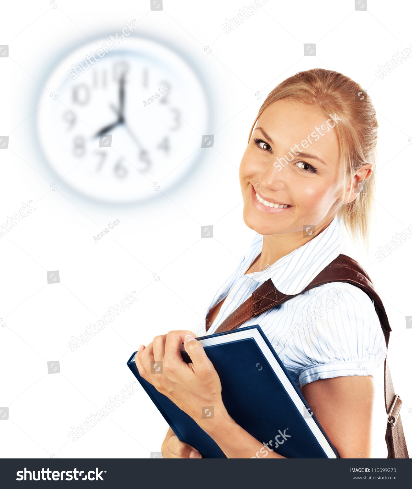Clever School Girl: Portrait Of Beautiful Happy Student Female, Attractive