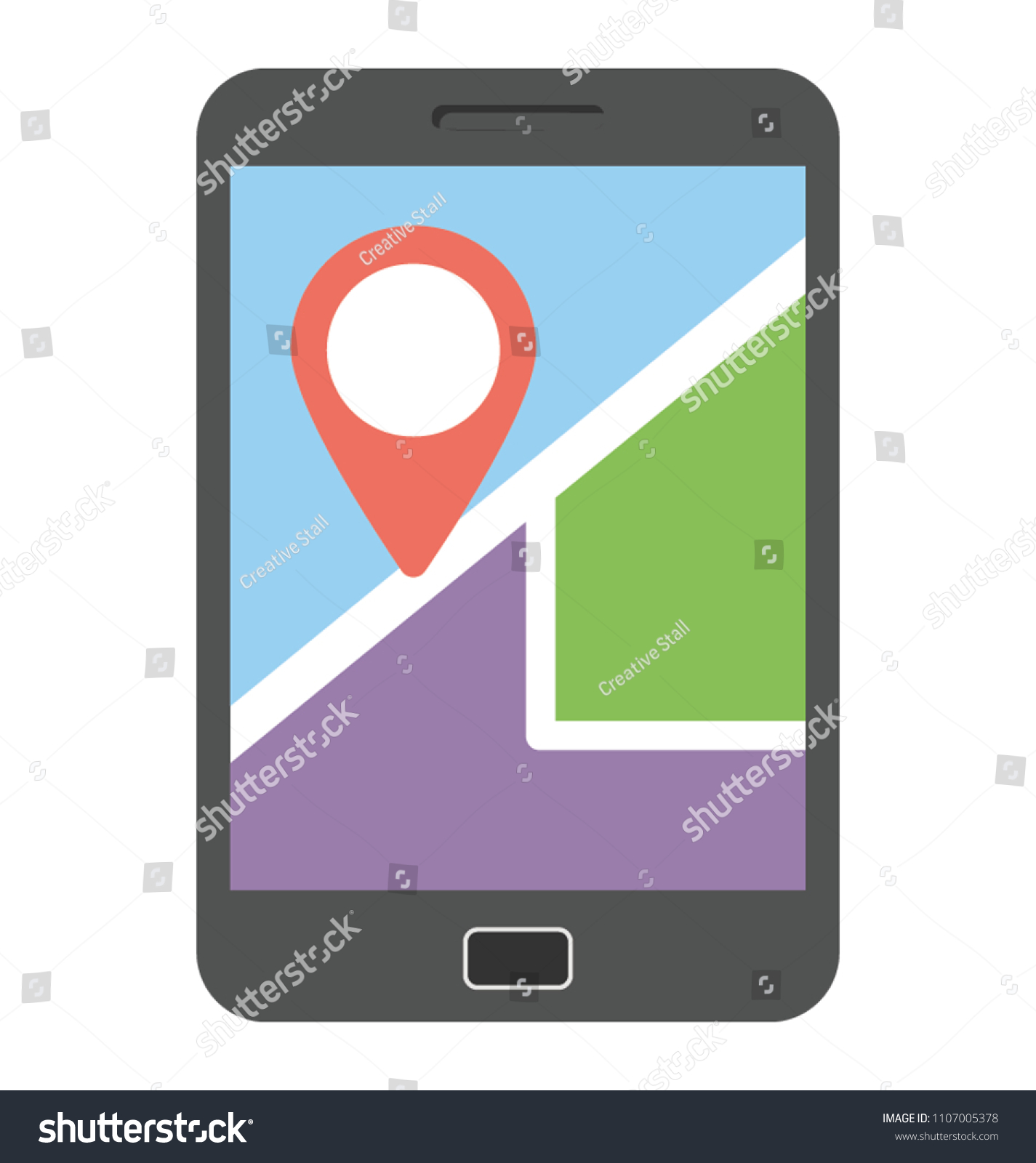 gps tracker on mobile screen online stock vector royalty free