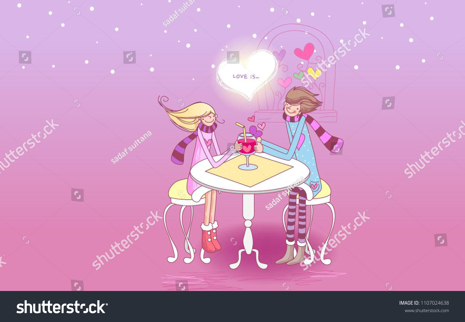 Animated Love Couple Wallpapers Mobile Cute Stock Illustration