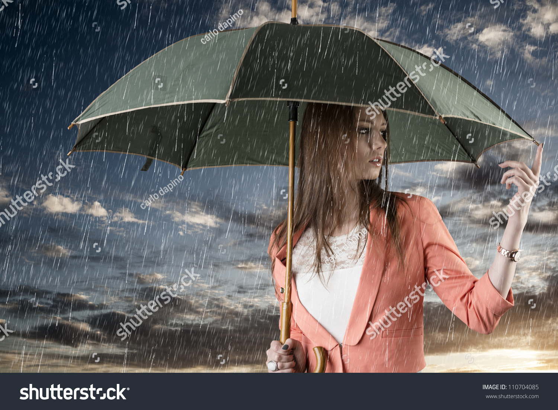 Pretty Young Woman Green Umbrella Under Stock Photo