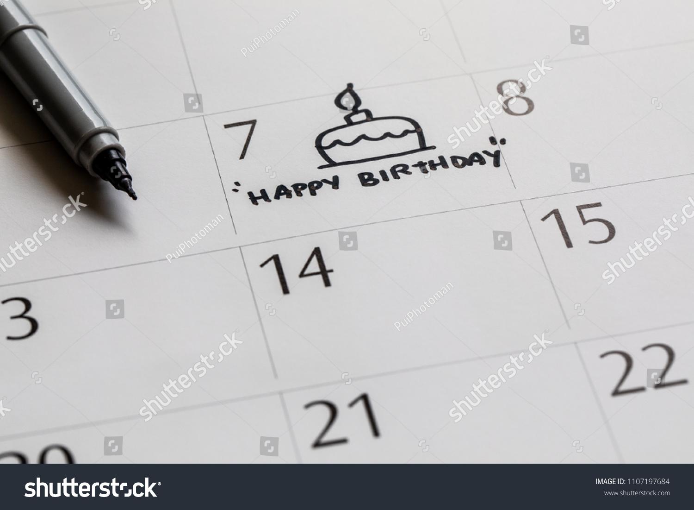 Writing Cake On Calendar Happy Birthday Stock Photo Edit Now
