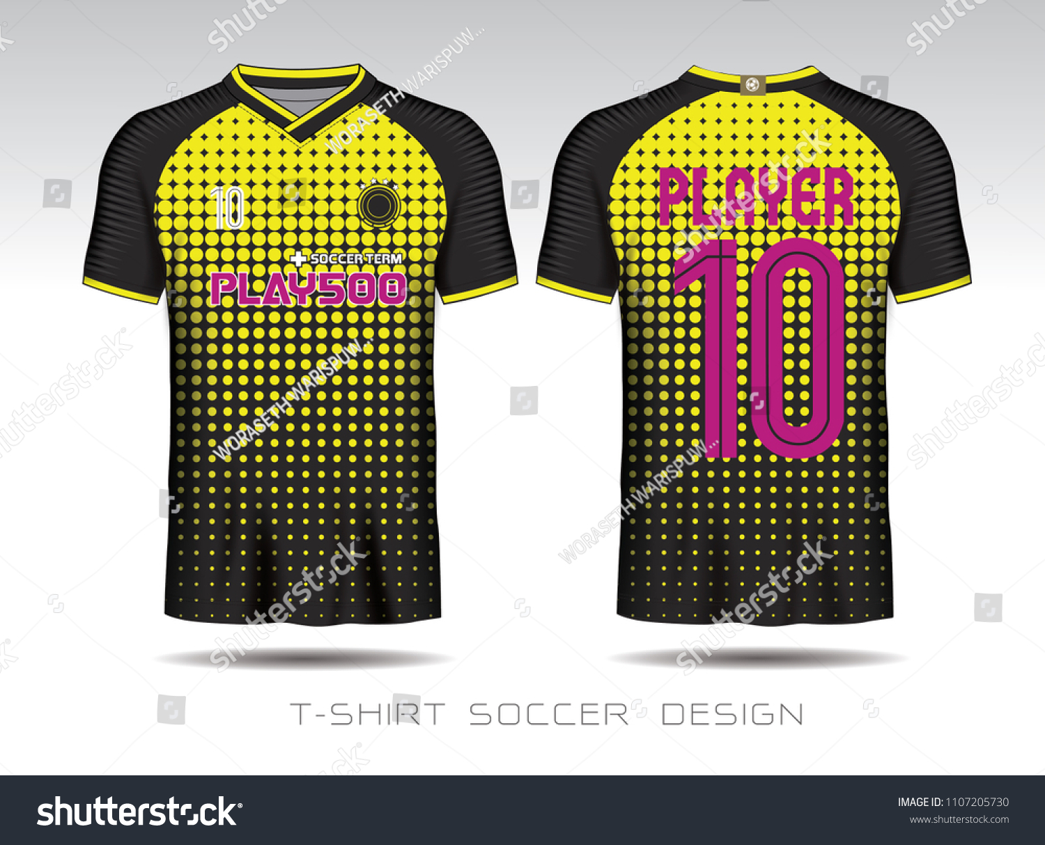 b5bfd43f4 Yellow Black Layout Football Sport Tshirt Stock Vector (Royalty Free ...