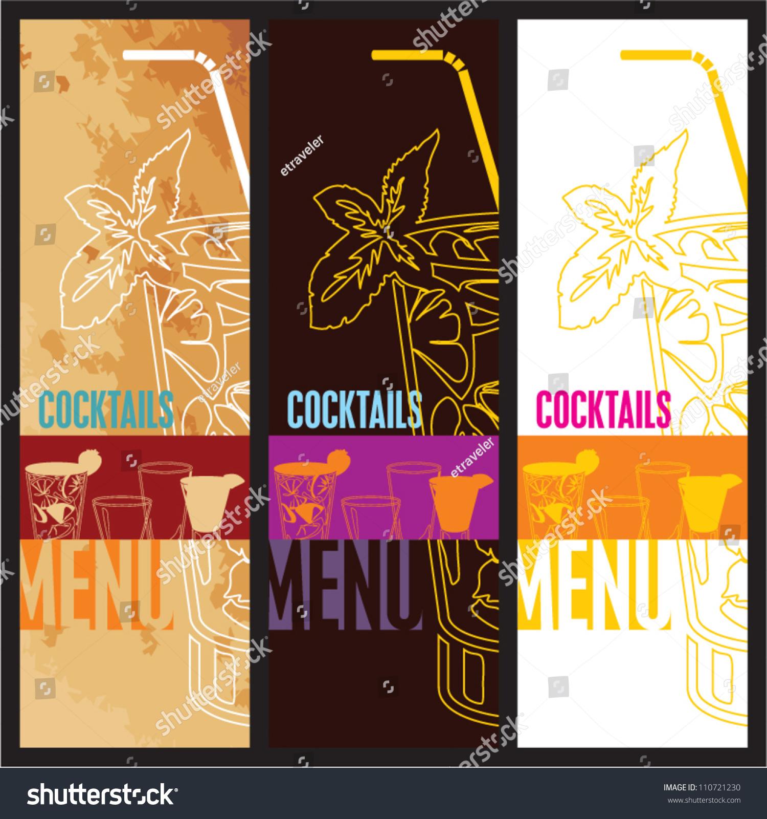 Cocktails Menu Card Design Template Menu Vector 110721230 – Bar Menu Template