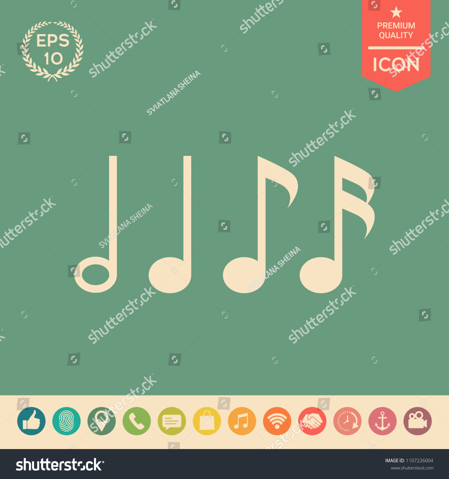 Symbol Music Notes Sixteenth Note Eighth Stock Vector Royalty Free