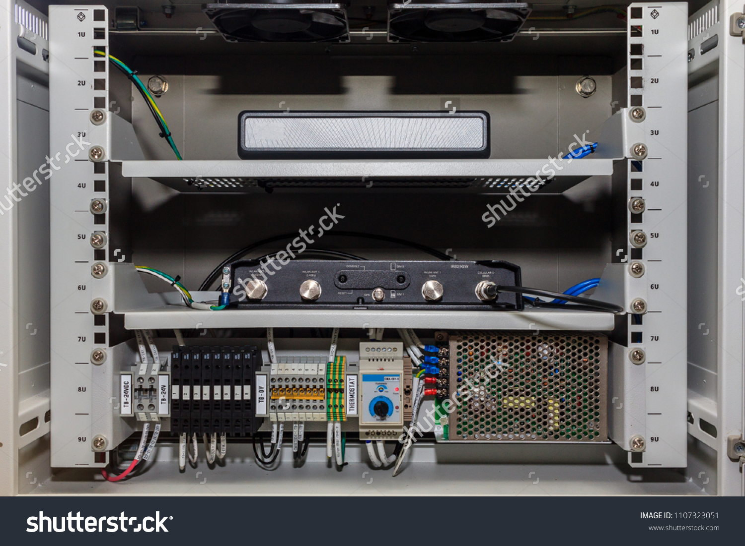 Communication Electrical Terminal Junction Box Contain Stock Photo Home Wiring With 4g Router Vg Cable Gland