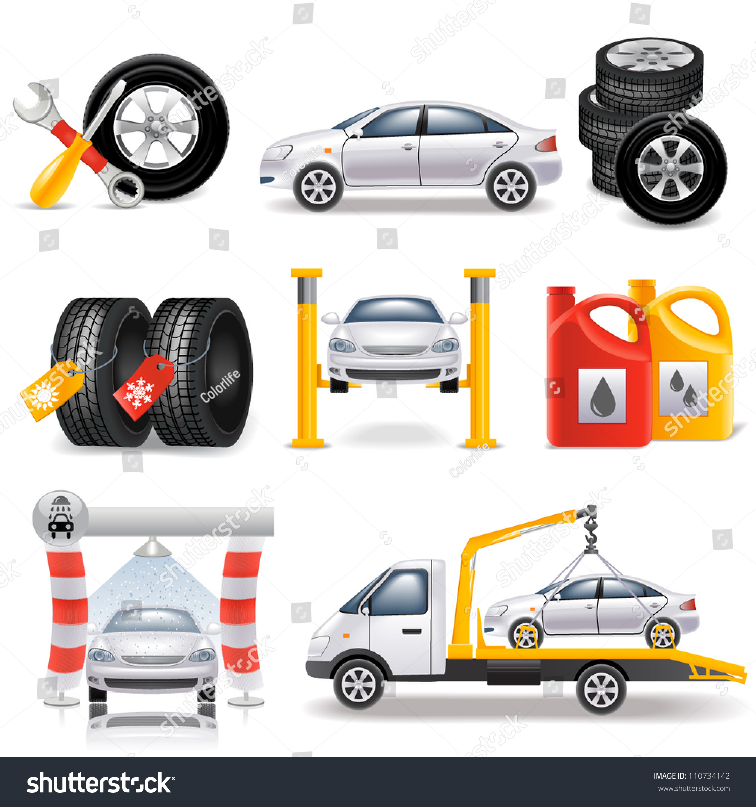 auto service set stock vector 110734142 shutterstock. Black Bedroom Furniture Sets. Home Design Ideas