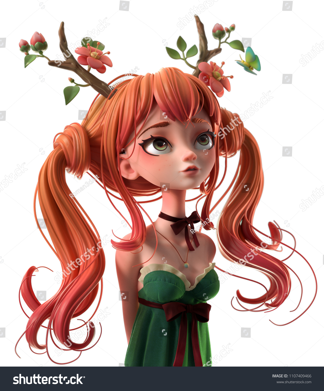 3d cartoon character red haired girl in green dress dreaming woman with two tails