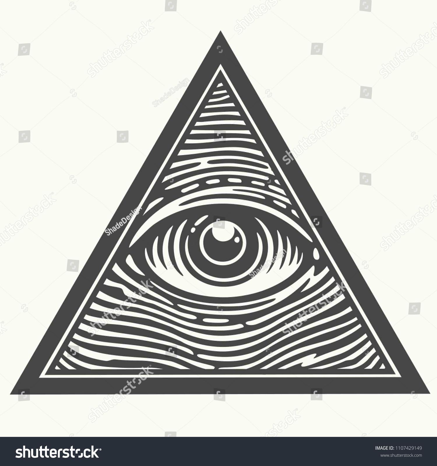 Vector Icon Masons Symbol Allseeing Eye Stock Vector Royalty Free