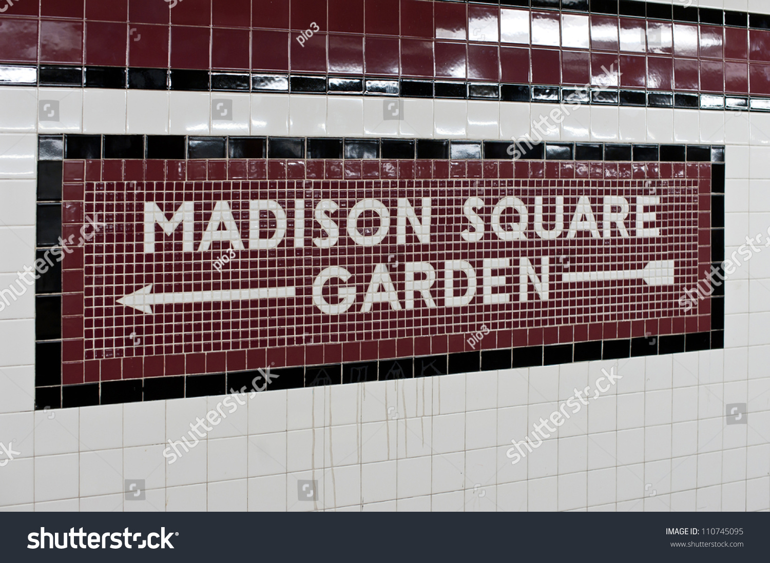 Madison Square Garden New York City Subway Sign Tile