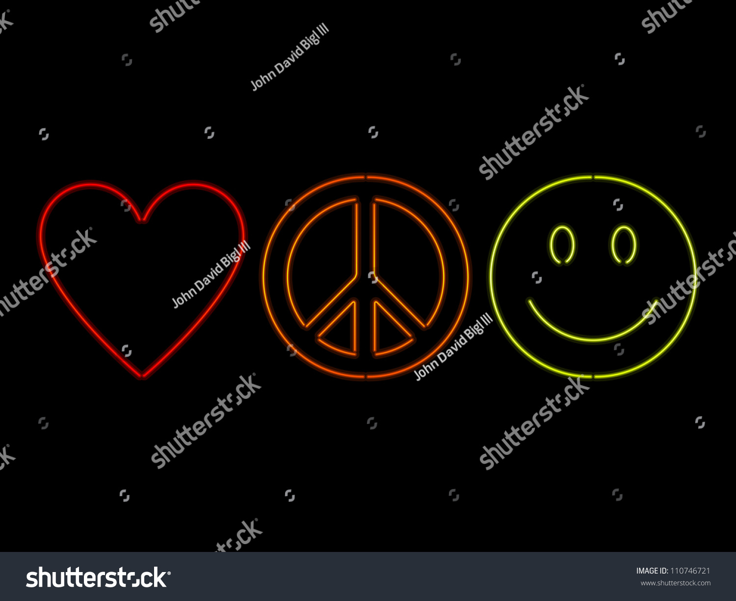 Love Peace Happiness Symbols Rendered Neon Stock Photo Photo