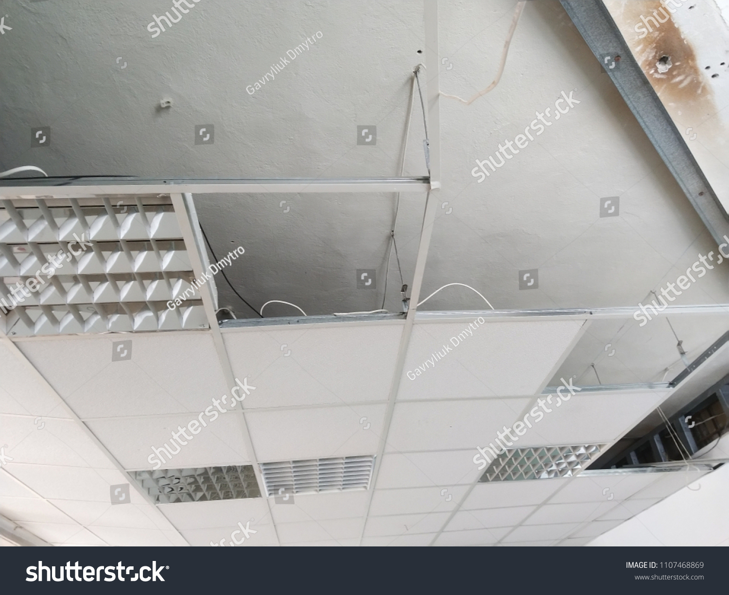 Suspended Armstrong Ceiling Armstrong Ceiling Tiles Stock Photo
