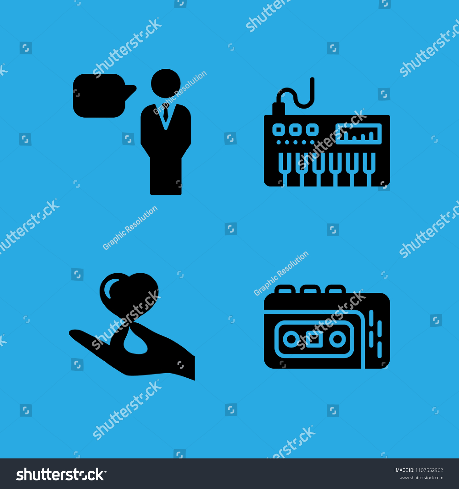 Speech Recorder Hand Holding Heart Piano Stock Vector Royalty Free A And Icons In Sample Icon Set
