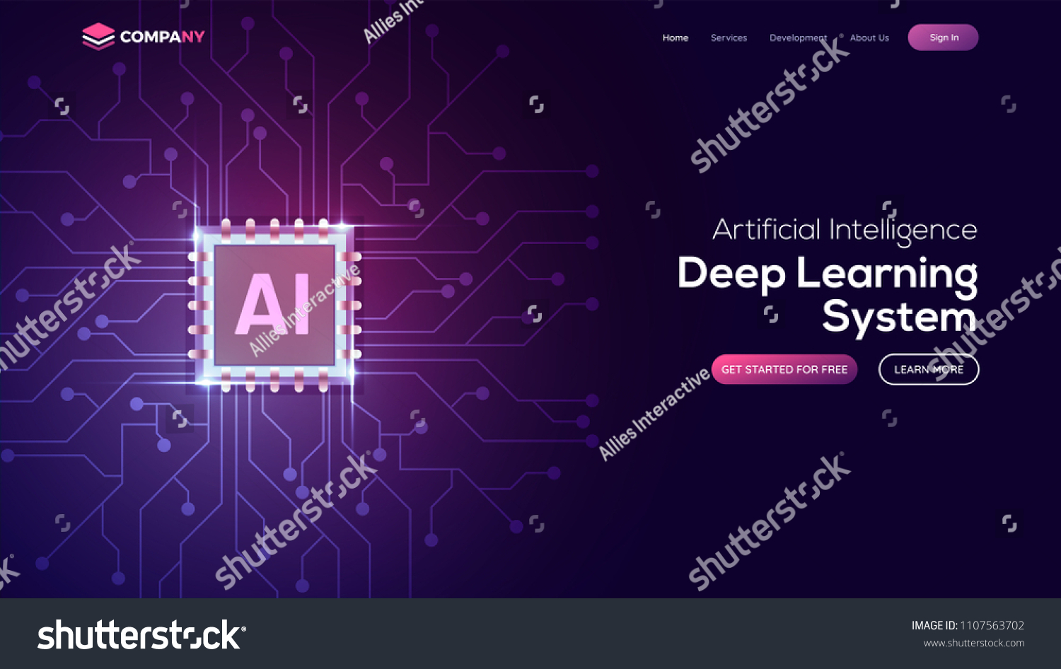 Artificial Intelligence Ai Landing Page Website Stock Vector Circuit Board Background Free Graphics Download Template For Deep Learning Concept