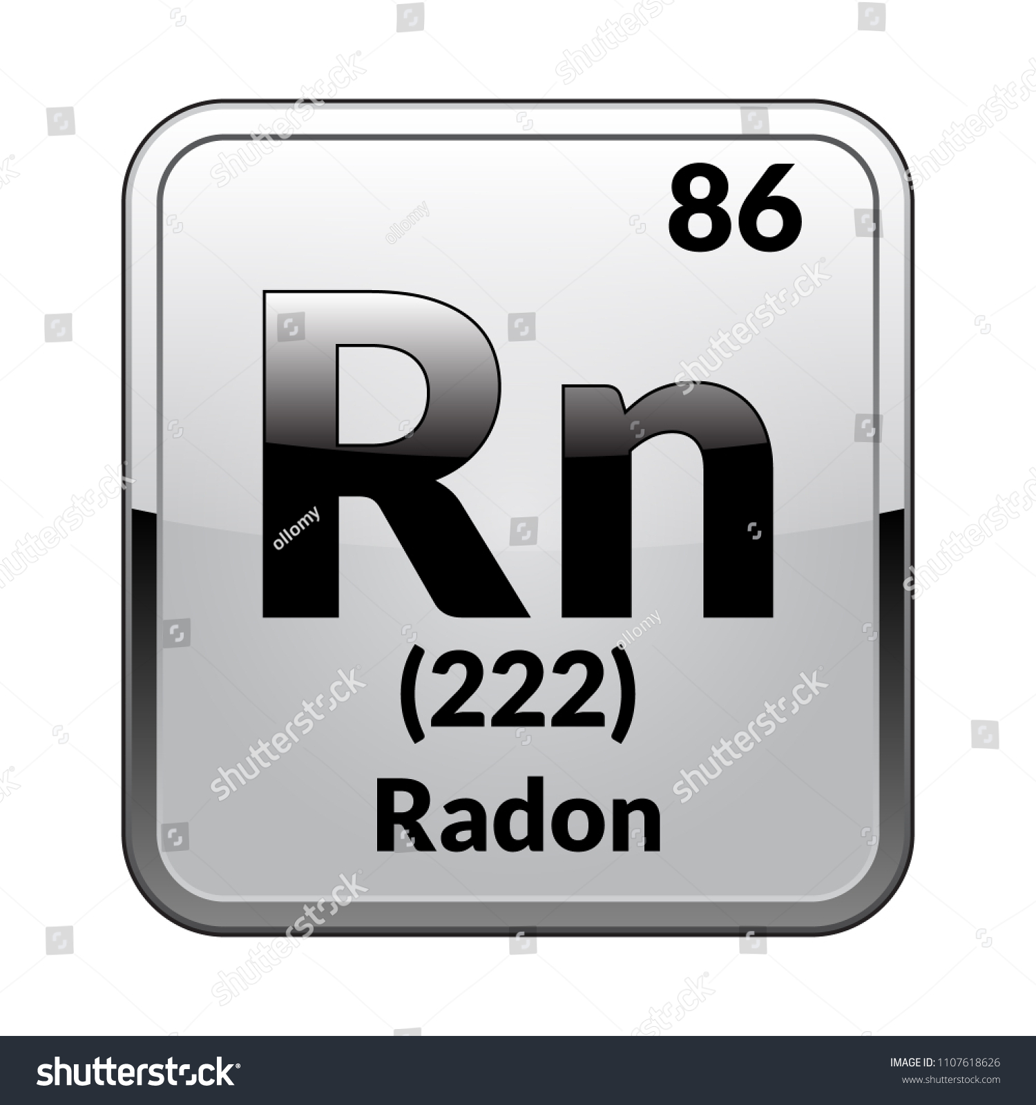 Radon Symbol Chemical Element Periodic Table On Stock Vector