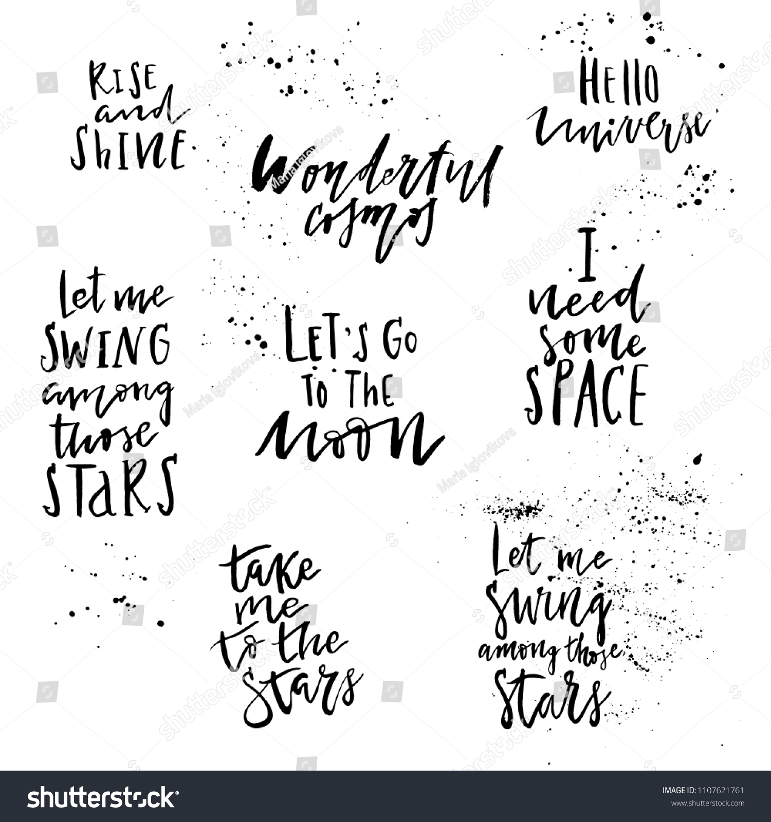 Big Set Hand Drawn Lettering Quotes Stock Vector Royalty Free