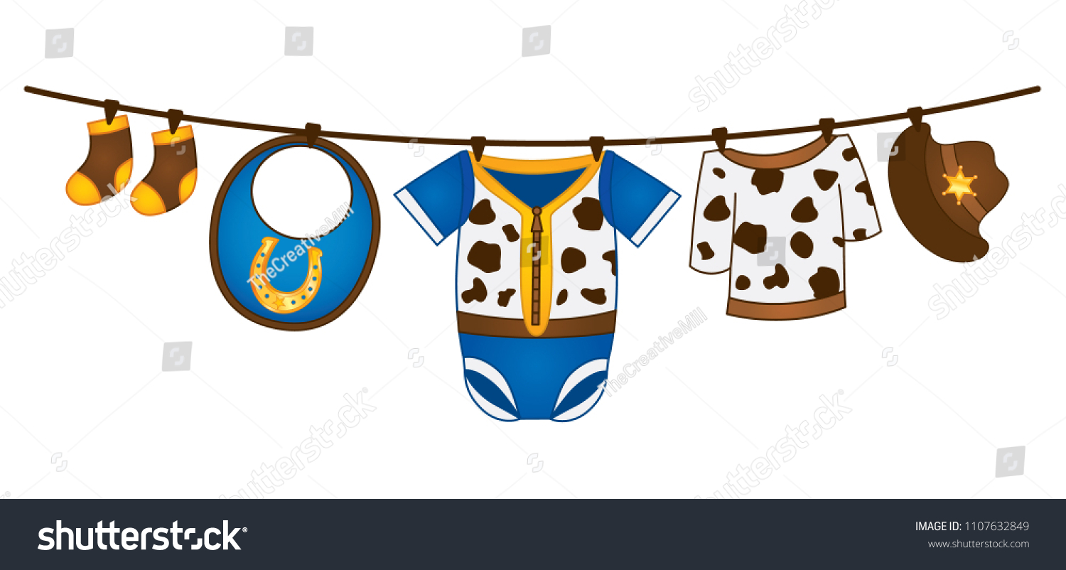4b49bbdc8cf5 Vector Baby Boy Clothes Hanging On Stock Vector (Royalty Free ...