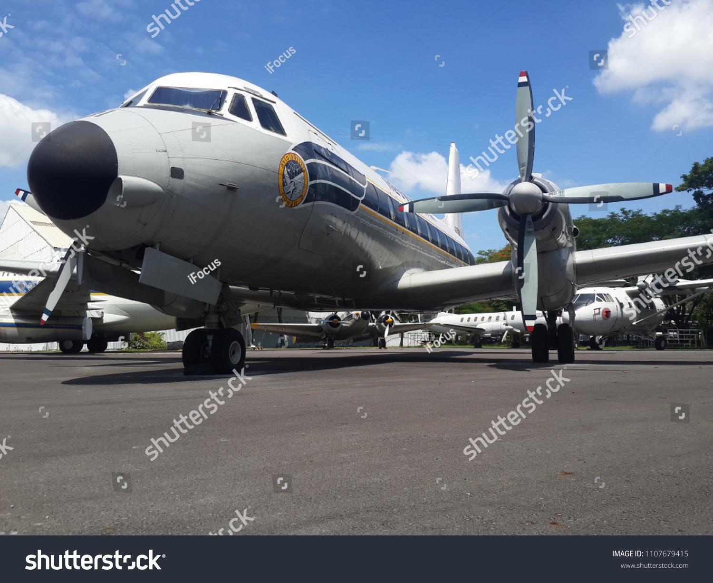BANGKOK, THAILAND - JUNE 5, 2018: Royal Thai Air Force museum displays a Hawker Siddeley HS-748 among other vintage planes on June 5, 2018 in Bangkok, Thailand.