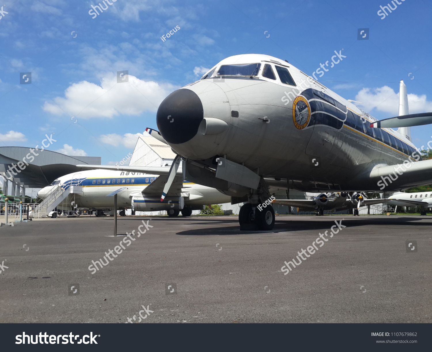BANGKOK, THAILAND - JUNE 5, 2018: Royal Thai Air Force museum displays a Hawker Siddeley HS-748 and in the background a Boeing 737-200 on June 5, 2018 in Bangkok, Thailand.