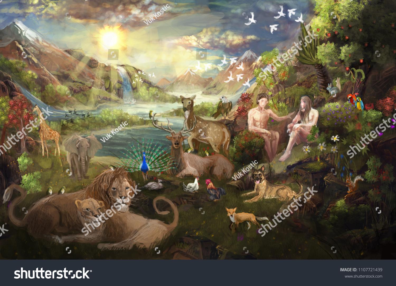 Eden Garden Bible Stock Illustration 1107721439 - Shutterstock