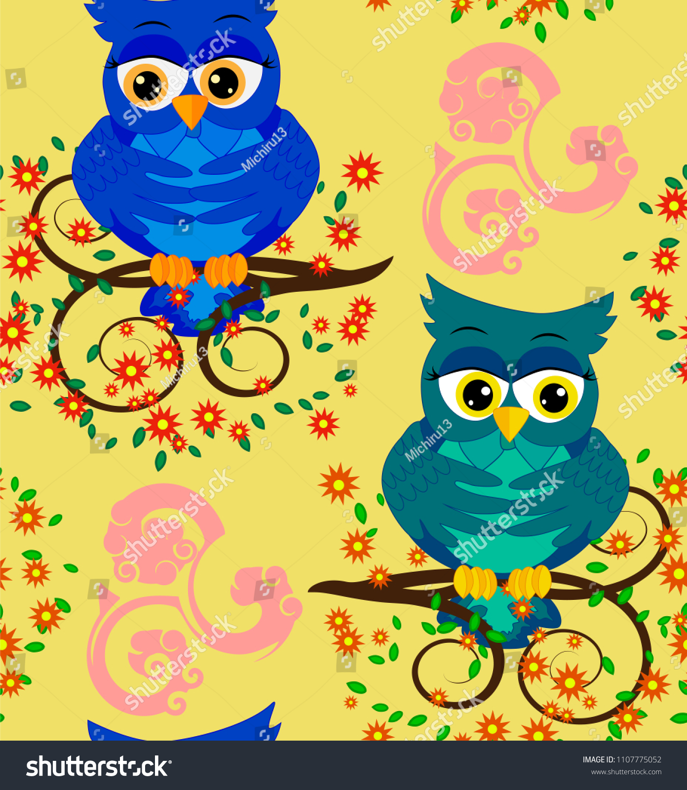 Cute Seamless Pattern With Owls And Stars In Pastel Colors