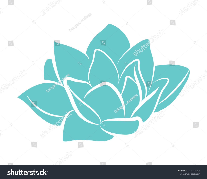 Turquoise Lotus Flower Icon Vector Illustration Stock Vector