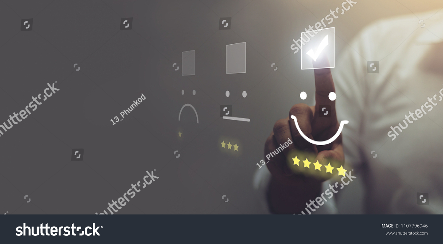 Businessman pressing smiley face emoticon on virtual touch screen. Customer service evaluation concept. #1107796946