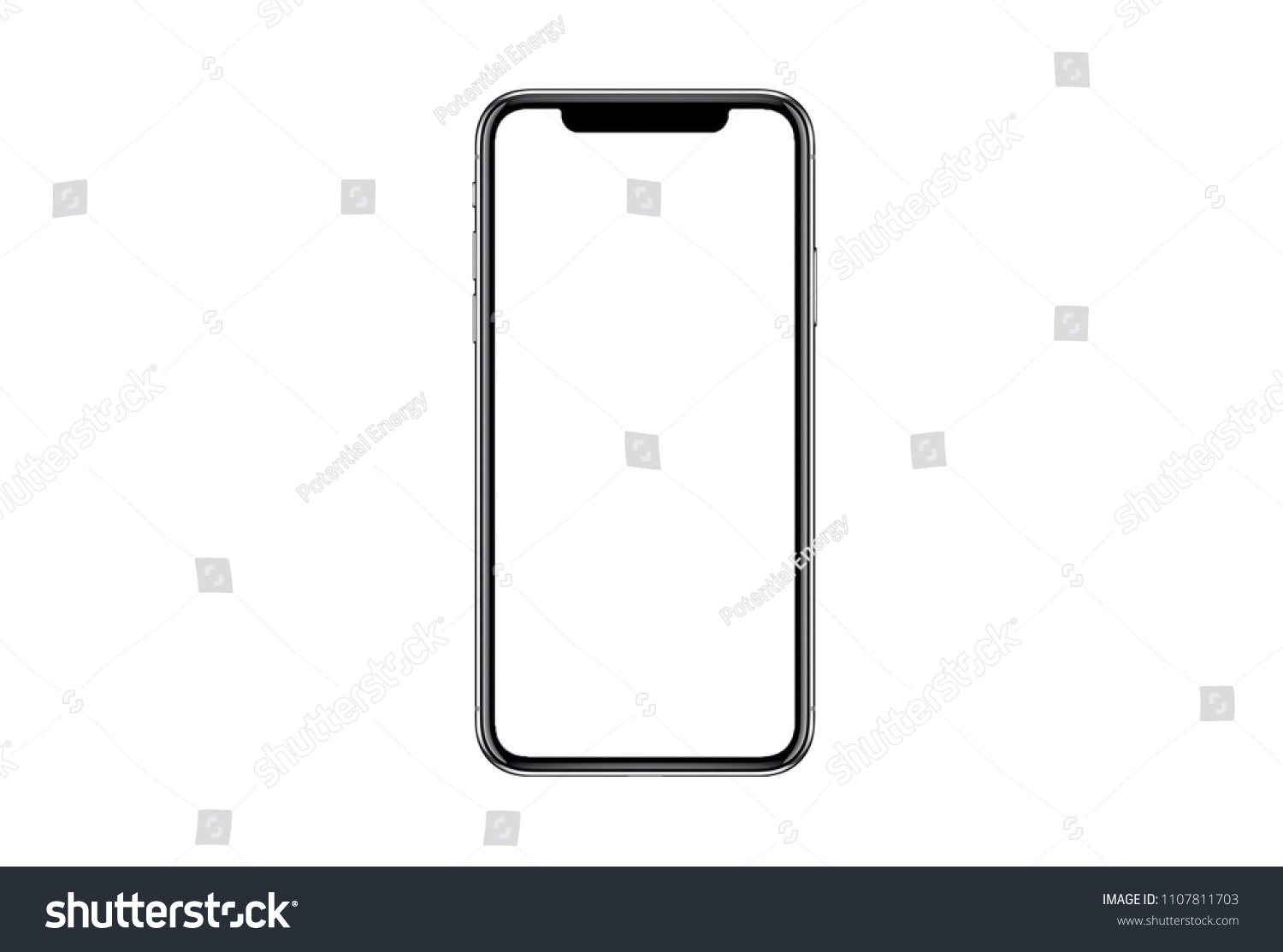 Smartphone similar to iphone xs max with blank white screen for Infographic Global Business Marketing investment Plan, mockup model similar to iPhonex isolated illustration of responsive web design.  #1107811703